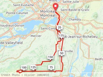 parcours du BRM 200 Montréal