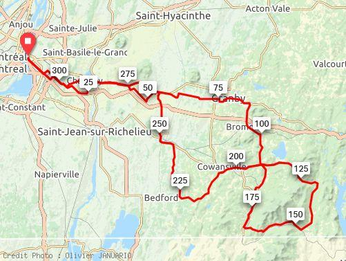 parcours du BRM 300 Montréal