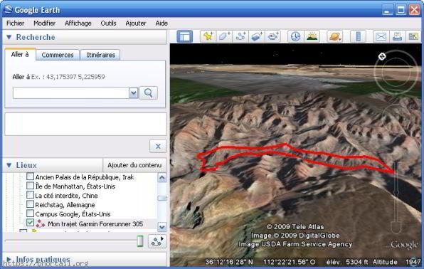 Google Earth Parcours tracé