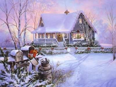 Carte de voeux maison sous la neige blague du jour - Carte de voeux maison ...